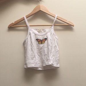Brandy Melville white butterfly tank top